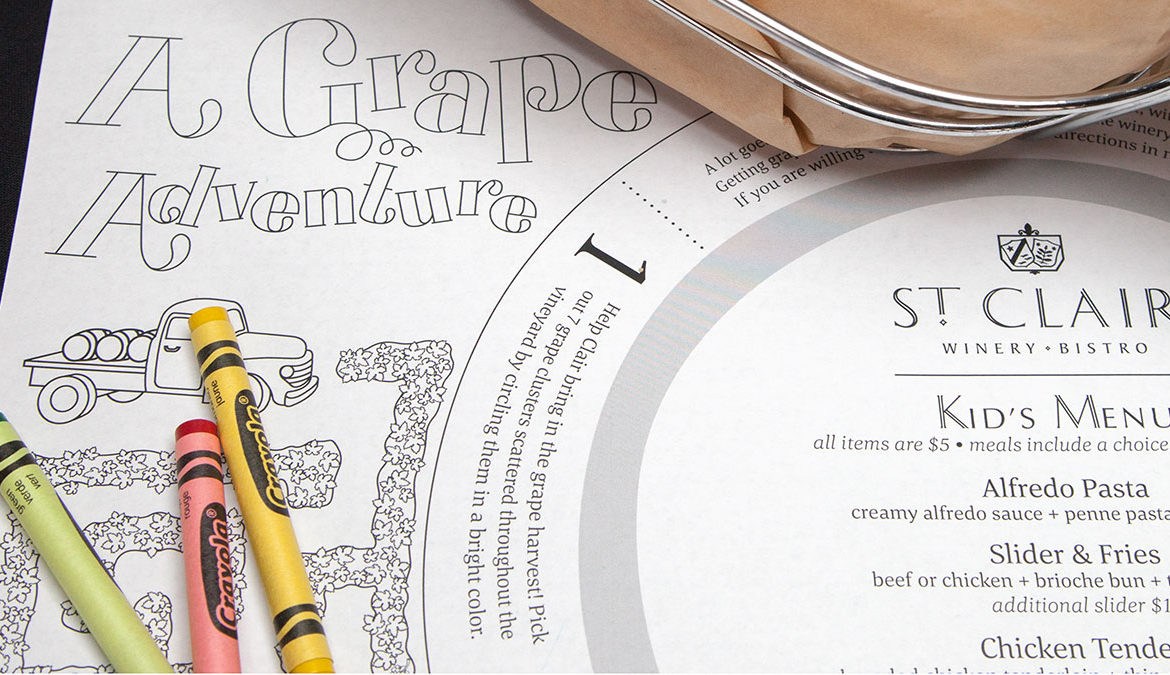 St. Clair Kid's Menu designed by Miranda Williams
