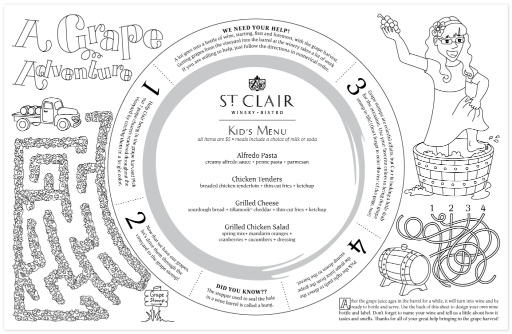 A flat presentation of the St. Clair Kid's Menu