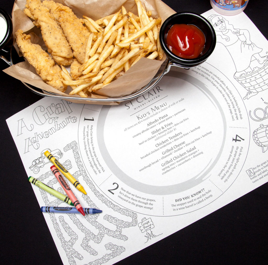 The St. Clair Kid's Menu designed by Miranda Williams
