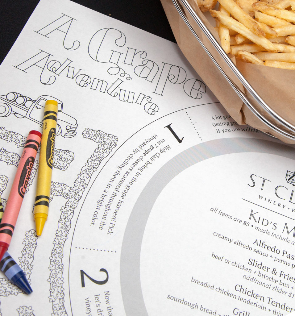 Detail of custom-drawn typography featured on the St. Clair Kid's Menu