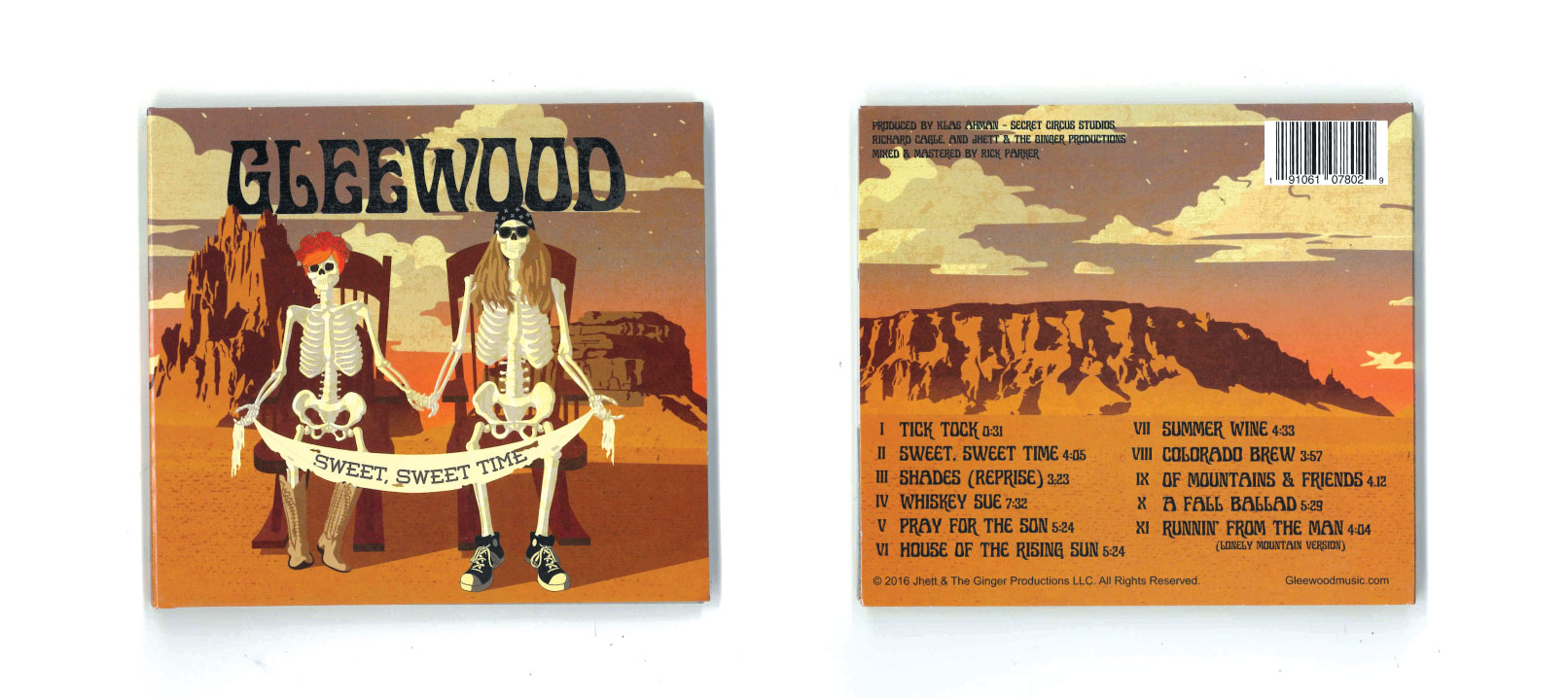 """Gleewood """"Sweet, Sweet Time"""" front and back album covers"""