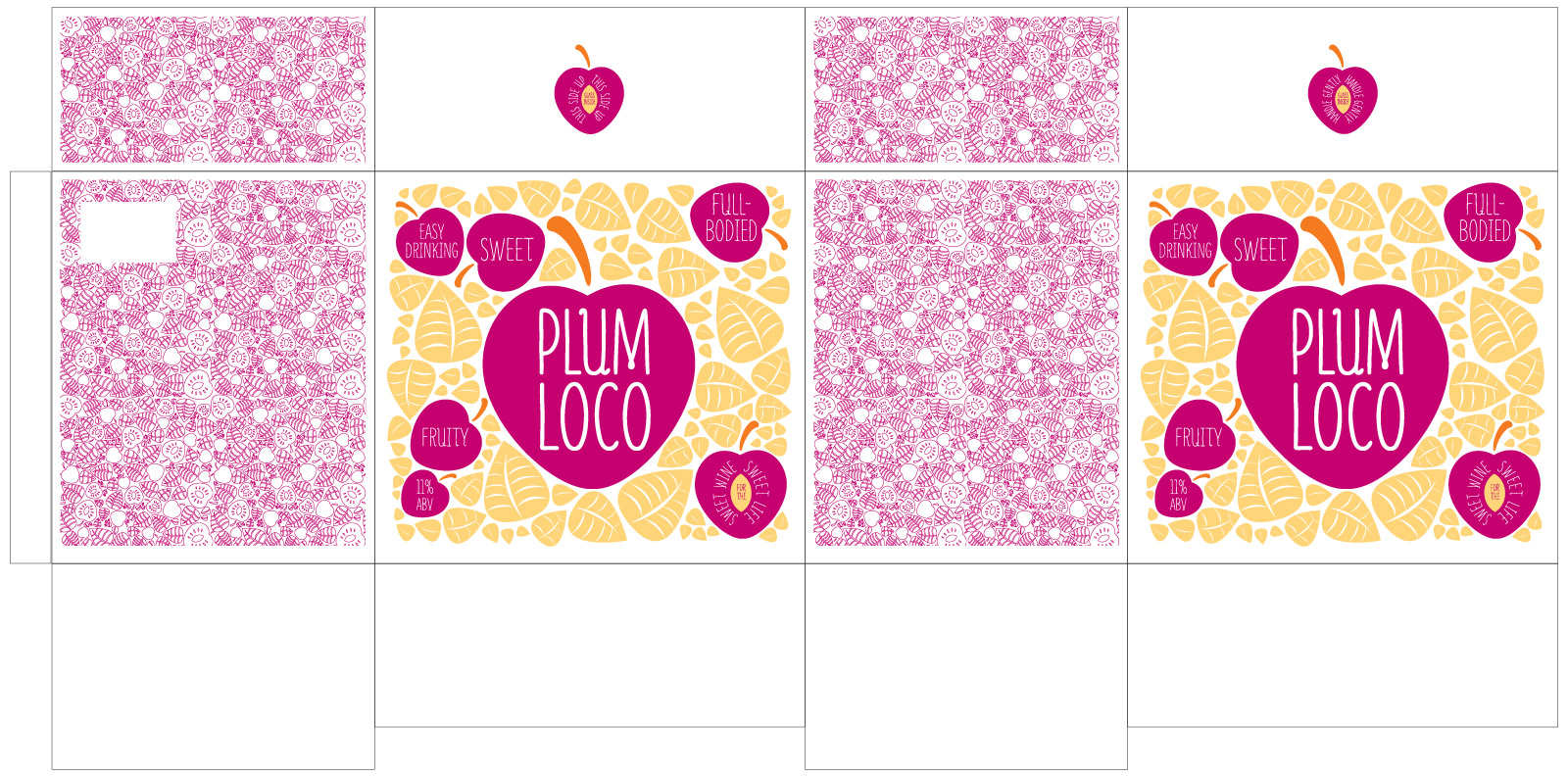 Plum Loco flat shipper design by Miranda Williams