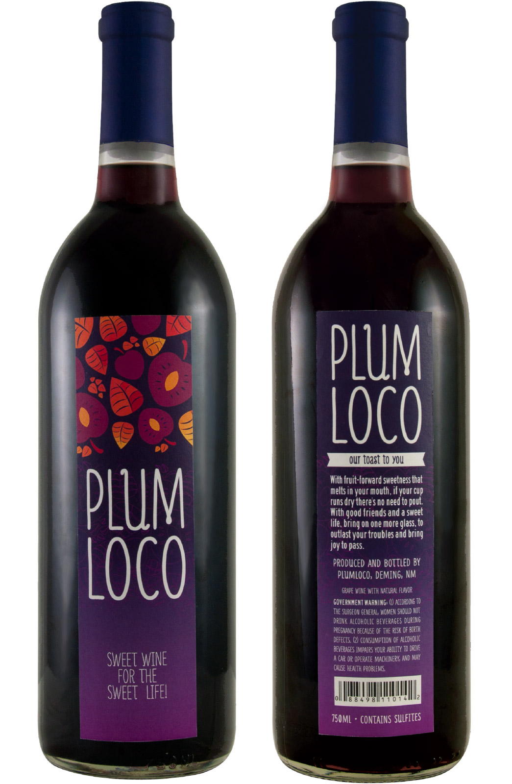 Plum Loco label designs by Miranda Williams