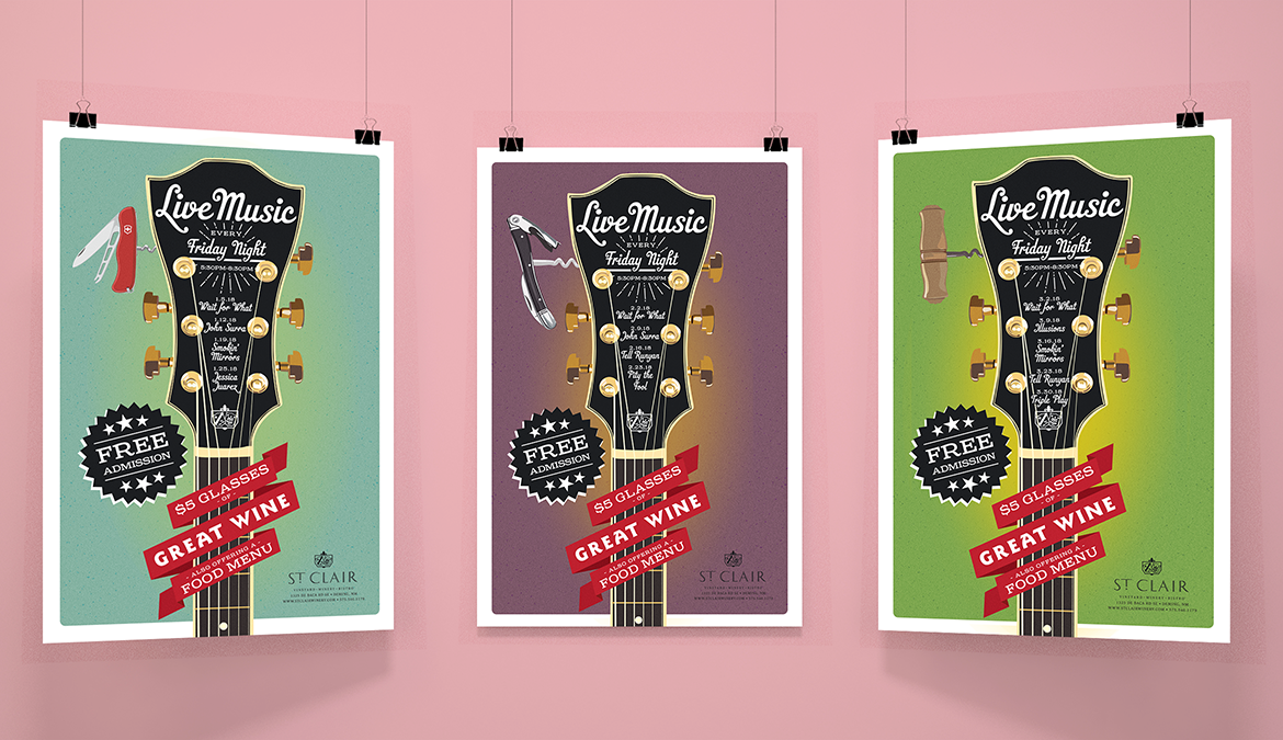 Live Music Poster Series designed by Miranda Williams
