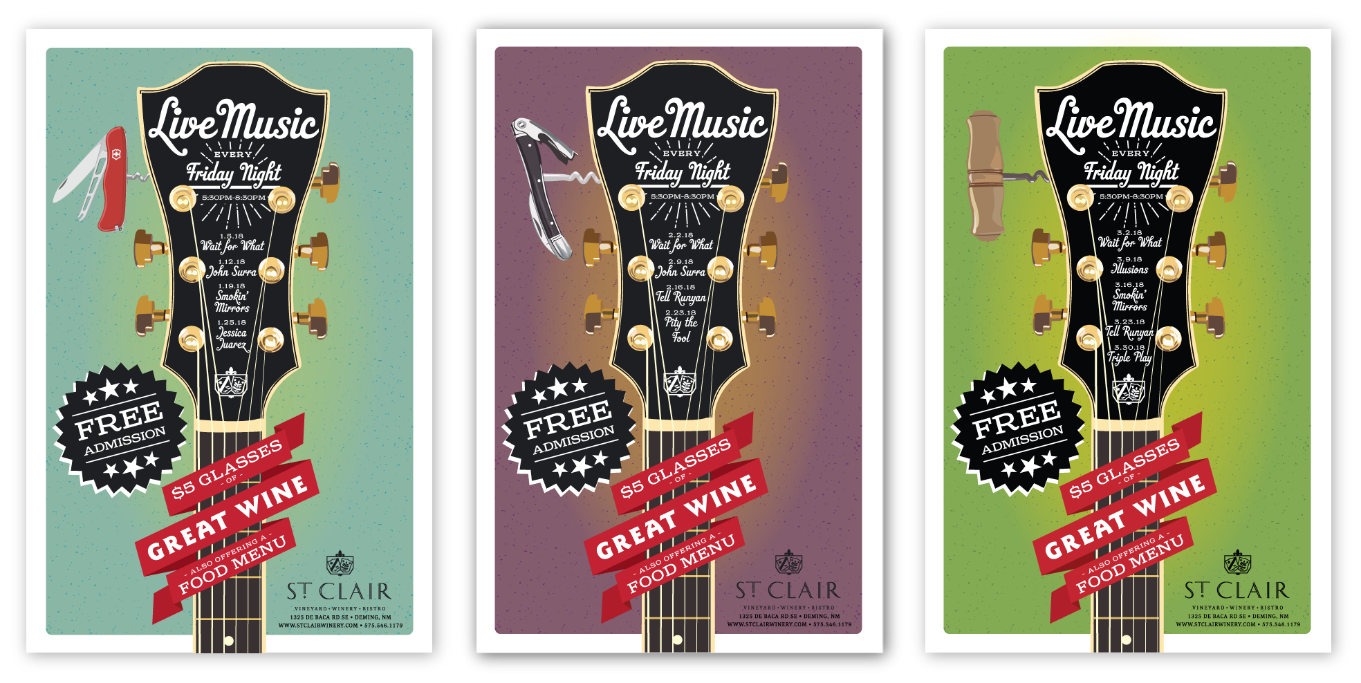 St. Clair Winery Live Music Poster Series designed by Miranda Williams